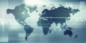 Abstract techno backgrounds with Earth map for your design